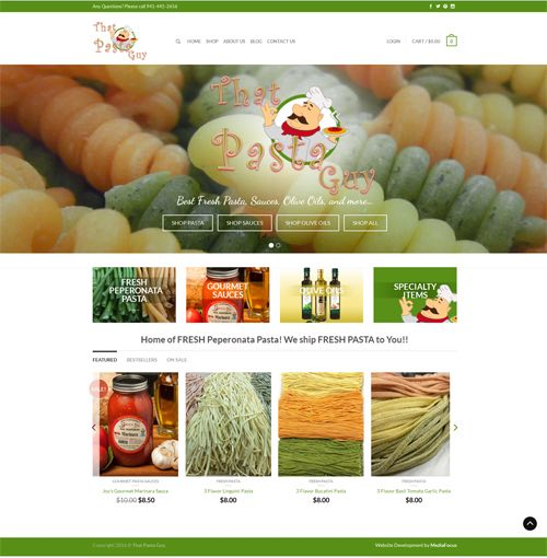 website development for That Pasta Guy