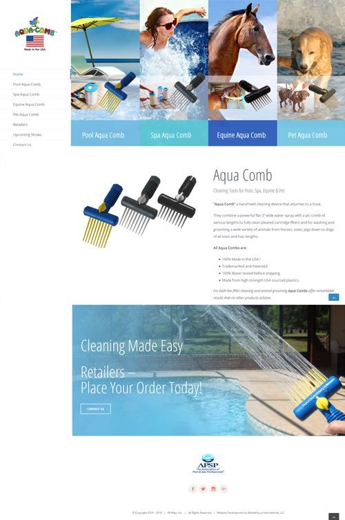 web design for Aqua Comb