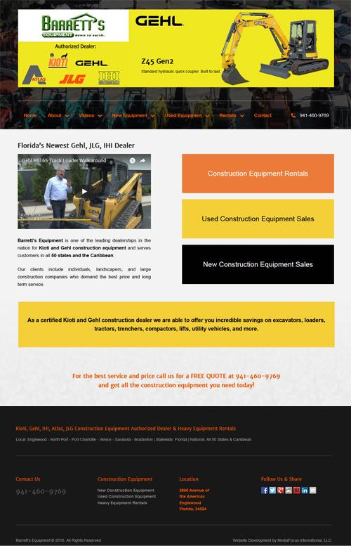 website development for Barrett's Equipment