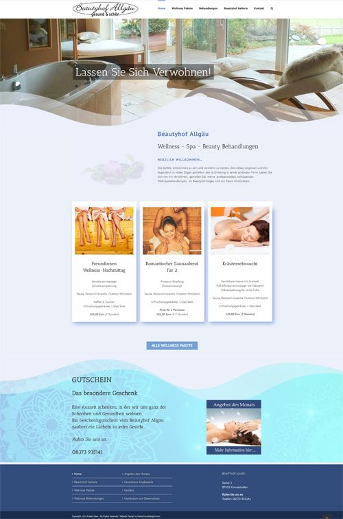 Web Design for Beautyhof Allgaeu in Germany